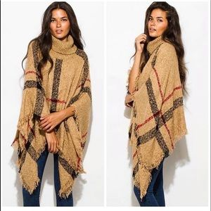Jackets & Blazers - Brown red and black cape shawl